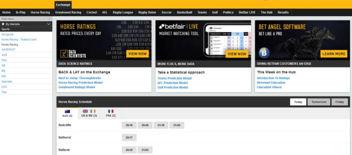 betfair exchange nz horse racing